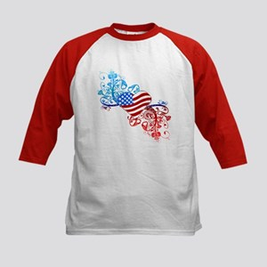 Independence Day Heart Scroll Kids Baseball Jersey