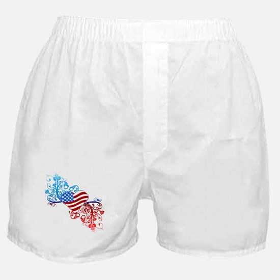 Independence Day Heart Scroll Boxer Shorts