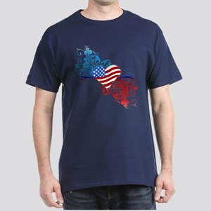 Independence Day Heart Scroll Dark T-Shirt