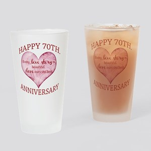 70th. Anniversary Drinking Glass