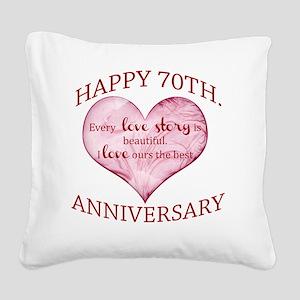 70th. Anniversary Square Canvas Pillow
