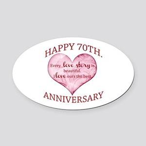 70th. Anniversary Oval Car Magnet