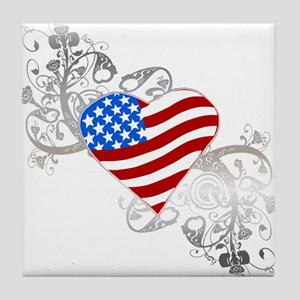 Independence Day Flag Heart Tile Coaster