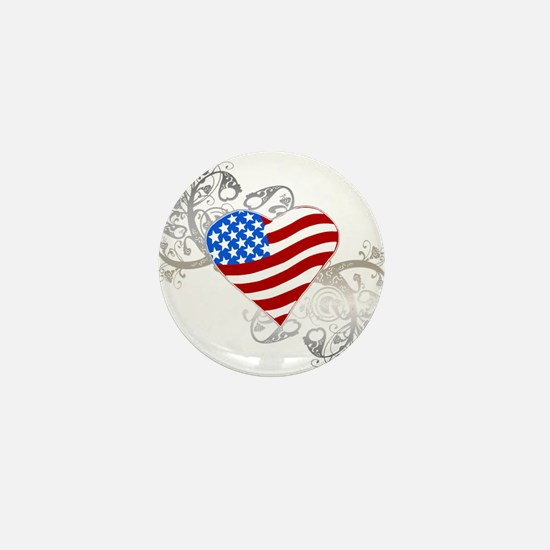 Independence Day Flag Heart Mini Button