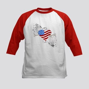 Independence Day Flag Heart Kids Baseball Jersey