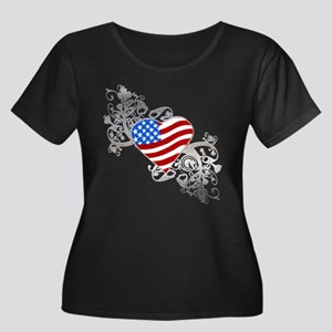 Independence Day Flag Heart Women's Plus Size Sco