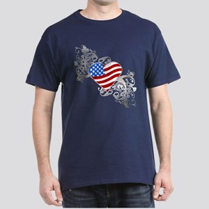 Independence Day Flag Heart Dark T-Shirt