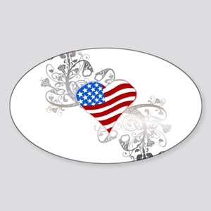 Independence Day Heart Oval Sticker