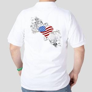 Independence Day Heart Golf Shirt