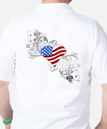 Independence Day Heart Golf Shirt