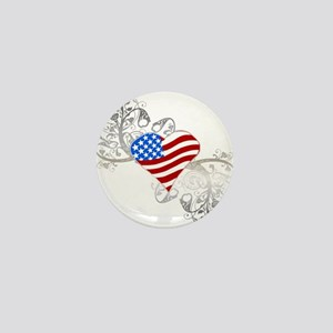 Independence Day Heart Mini Button