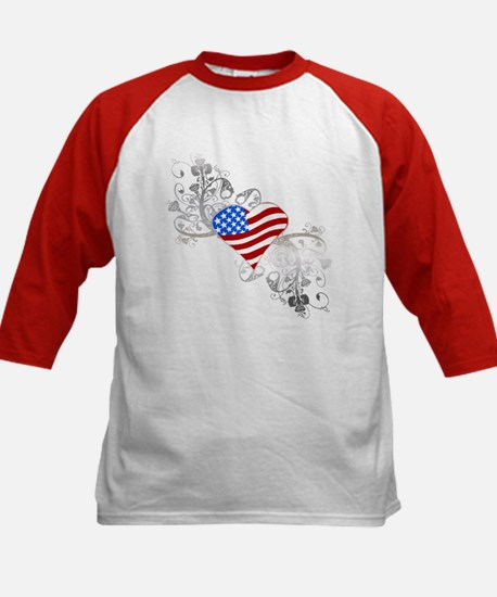 Independence Day Heart Kids Baseball Jersey