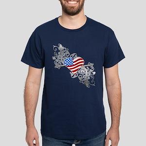 Independence Day Heart Dark T-Shirt