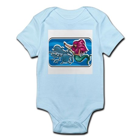Swimming Mermaid with Whales Infant Bodysuit