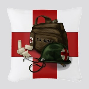 Army Cross Woven Throw Pillow