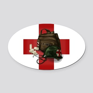 Army Cross Oval Car Magnet