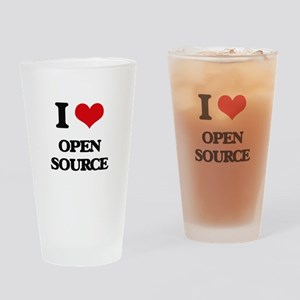 I Love Open Source Drinking Glass