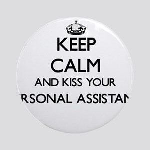 Keep calm and kiss your Personal Ornament (Round)