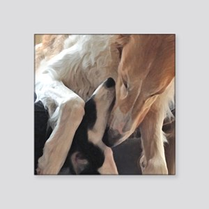 "Borzoi Puppy Love Square Sticker 3"" x 3"""