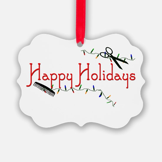 Hairstylist Happy Holidays Picture Ornament