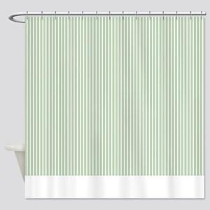 Green Stripe Shower Curtain 2