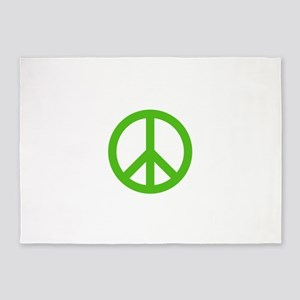 Green Peace Sign 5'x7'Area Rug