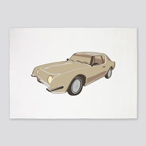 Gold Studebaker Avanti illustration 5'x7'Area Rug