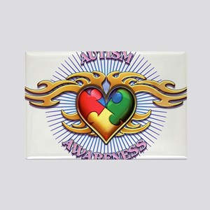 AUTISM TRIBAL HEART5 Magnets