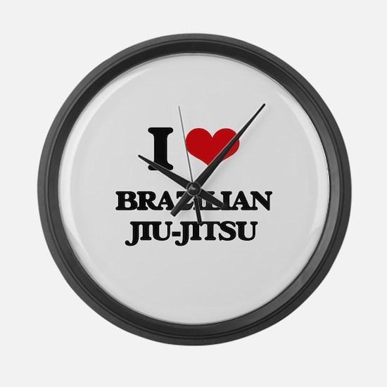 I Love Brazilian Jiu-Jitsu Large Wall Clock
