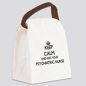 Keep calm and kiss your Psychiatr Canvas Lunch Bag