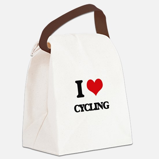 I Love Cycling Canvas Lunch Bag