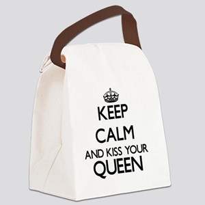 Keep calm and kiss your Queen Canvas Lunch Bag
