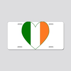 Irish Flag heart Valentine Aluminum License Plate