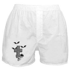 Halloween Tombstone and Bats Boxer Shorts
