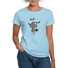 Halloween Tombstone and Bats Women's Light T-Shirt