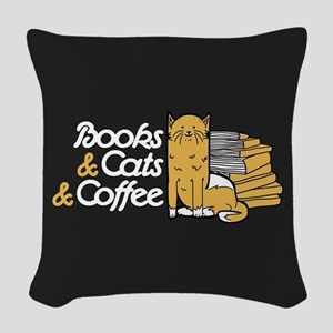 Books & Cats & Coffee Woven Throw Pillow