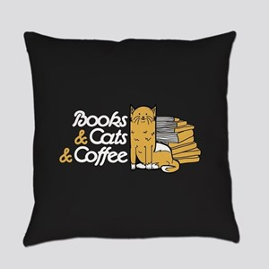 Books & Cats & Coffee Everyday Pillow