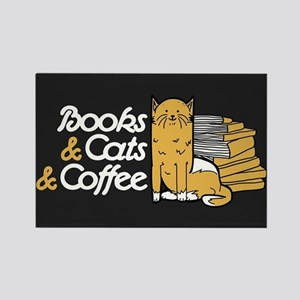 Books & Cats & Coffee Rectangle Magnet