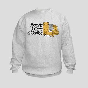Books & Cats & Coffee Kids Sweatshirt