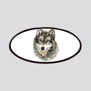 Watercolor Grey Gray Wolf Animal Nature Patches