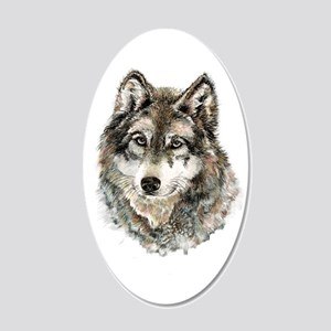 Watercolor Grey Gray Wolf 20x12 Oval Wall Decal