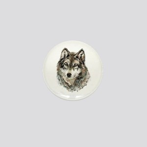 Watercolor Grey Gray Wolf Animal Mini Button