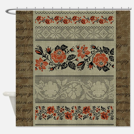 Ukrainian Embroidery Shower Curtain