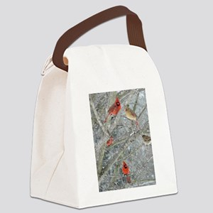 Cardinal Winter Canvas Lunch Bag