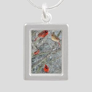 Cardinal Winter Silver Portrait Necklace