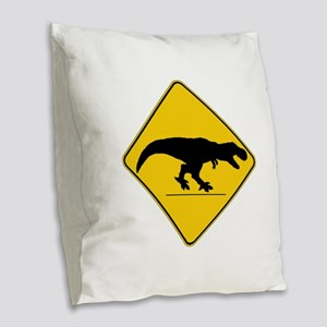 T Rex Crossing Burlap Throw Pillow