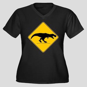 T Rex Crossi Women's Plus Size V-Neck Dark T-Shirt
