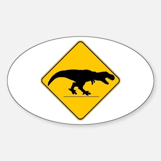 T Rex Crossing Sticker (Oval)