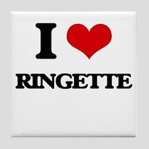 I Love Ringette Tile Coaster