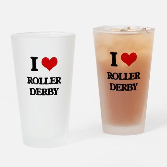 I Love Roller Derby Drinking Glass